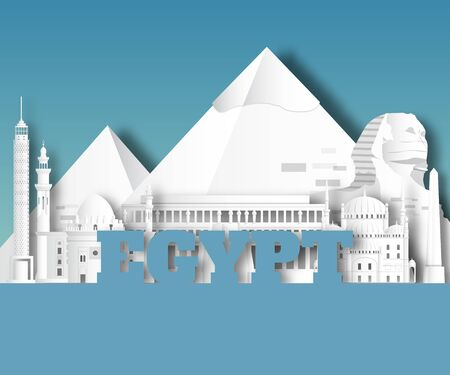 Egypt Landmark Global Travel And Journey paper background. Vector Design Template.used for your advertisement, book, banner, template, travel business or presentation. Ilustracja