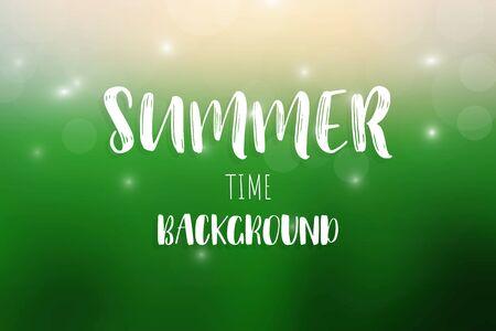Summer text on blurred background. vector illustration.