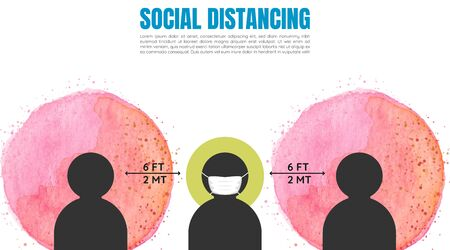 Social distancing banner. keep the two meters distance. coronavirus epidemic protective. vector
