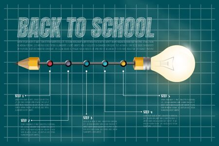 Back to school text drawing by white chalk in blackboard with school items and elements. Vector illustration banner. Ilustracja