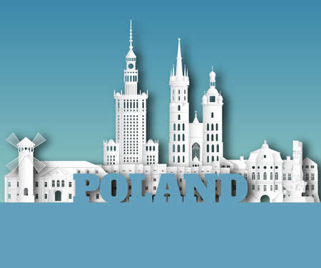 Poland Landmark Global Travel And Journey paper background. Vector Design Template.used for your advertisement, book, banner, template, travel business or presentation.