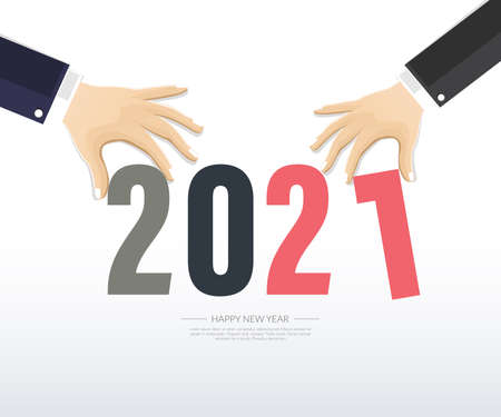 Happy new year 2021.Business Greetings card. abstract background. Vector illustration. Ilustração
