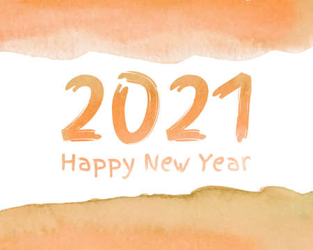 Happy new year 2021 watercolor theme. 2021 Greetings card. abstract background. 2021 background banner. Vector illustration. Ilustração