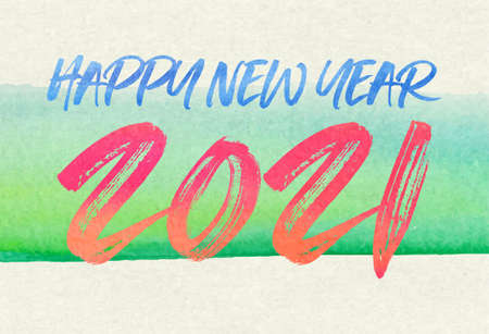 Happy new year 2021. Watercolor Greetings card. abstract background. Vector illustration.