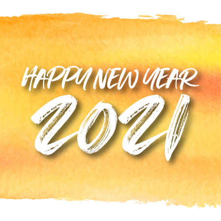 Happy new year 2021 watercolor theme. 2021 Greetings card. abstract background.2021 background banner. Vector illustration. Ilustração