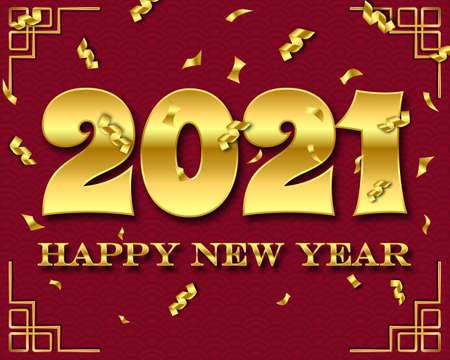 Happy new year 2021. 2021 Greetings card. abstract background.2021 background banner. Vector illustration. Stock Illustratie