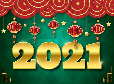 Chinese style Happy new year 2021. 2021 Greetings card. abstract background.2021 background banner. Vector illustration. Stock Illustratie