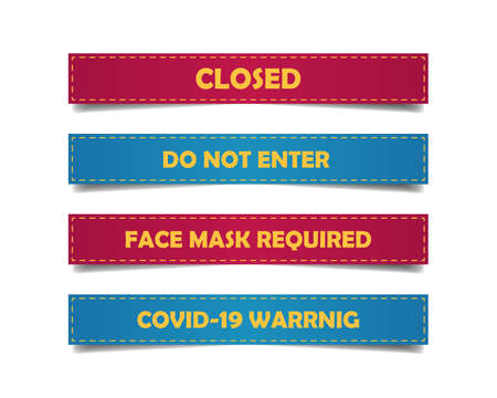 4 Banners set with sign closed, do not enter, face mask required and covid 19 warning.