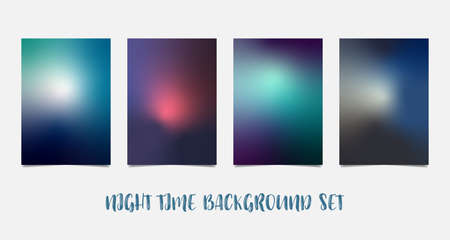 Set of colorful A4 sunset and sunrise. Blurred modern mesh background paper cards. Vector illustration