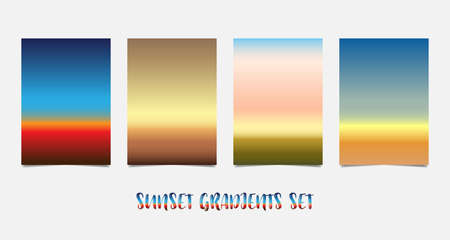 Set of colorful A4 sunset and sunrise. Blurred modern gradient background paper cards. Vector illustration Stock Illustratie