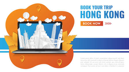 Hong kong Landmark Global Travel And Journey paper background. Vector Design Template.