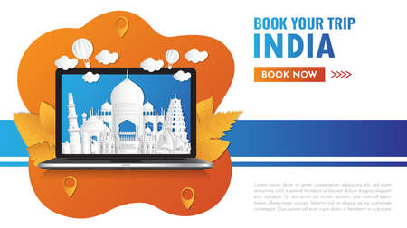 india Landmark Global Travel And Journey paper background. Vector Design Template.