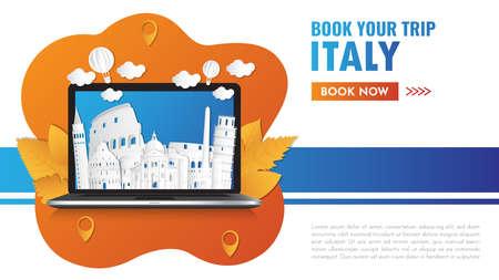italy Landmark Global Travel And Journey paper background. Vector Design Template. Stock Illustratie