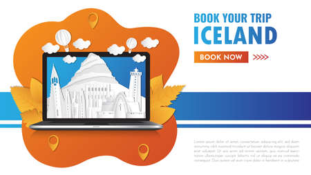 Iceland Landmark Global Travel And Journey paper background. Vector Design Template.