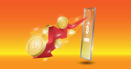 Bitcoin technology concept with downtrend red arrow background. Realistic vector illustration.