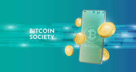Bitcoin technology concept with the mobile background.Realistic vector illustration.