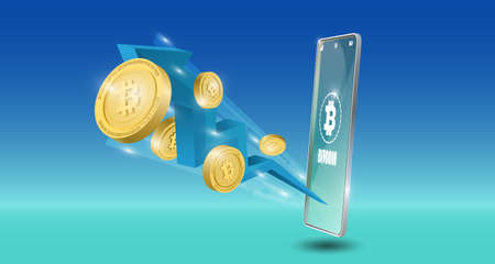 Bitcoin technology concept with downtrend blue arrow background. Realistic vector illustration.