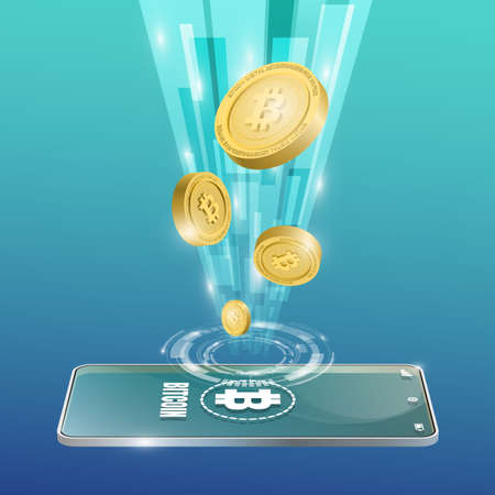 Bitcoin technology concept with the mobile background. Realistic vector illustration.