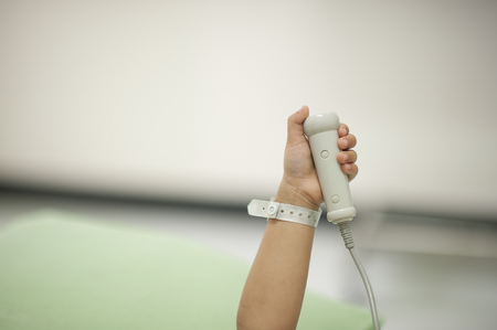 The emergency call button was placed near the patient. For the convenience of hitting the medical team. Stock Photo