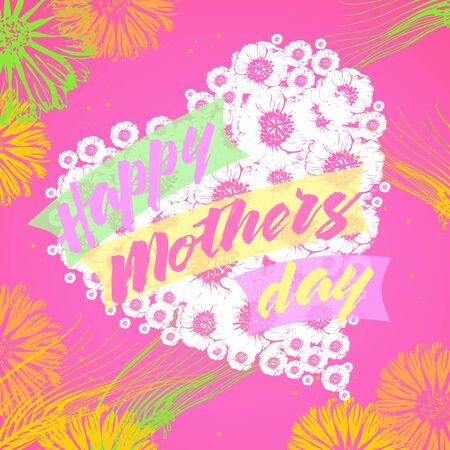Happy Mothers Day greeting card with loral heart, flowers and text. Vector illustration fo festive design. Stock Photo