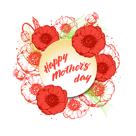 Happy Mothers Day greeting card with red poppy flowers and text. Vector illustration fo festive design.