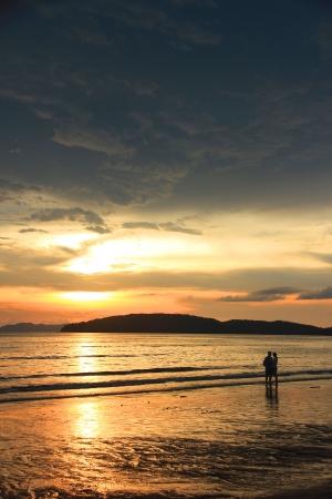 aonang: Sunset at Aonang beach - krabi, Thailand Stock Photo