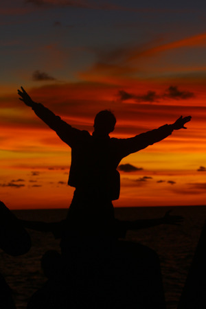 Enjoy the beauty of sunset at Glagah beach Stock Photo