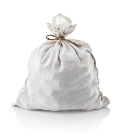 full white sack tied by rope isolated on background