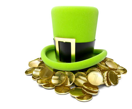 saint patricks hat on pile of golden coin 3d-illustration isolated on white background