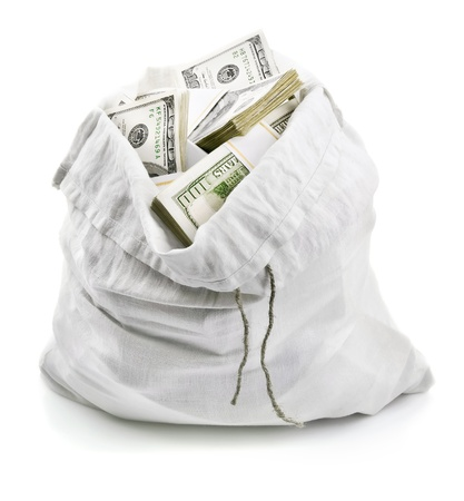 bag of money: open sack full of money dollars isolated on white background