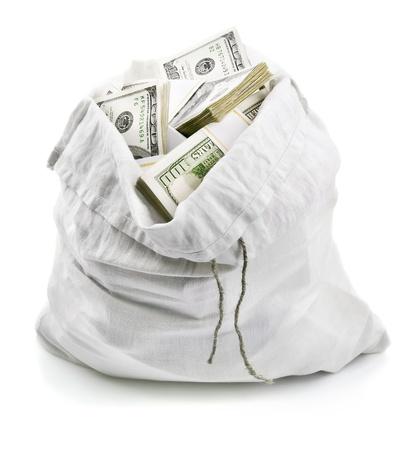 open sack full of money dollars isolated on white background