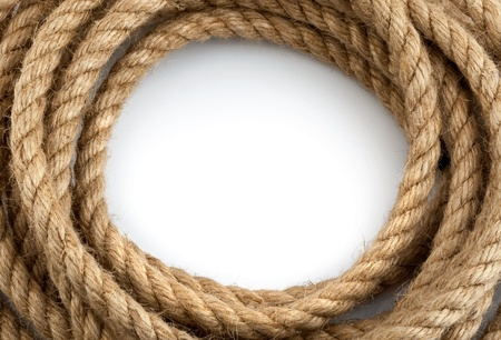 skein of rope on white background