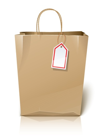 empty paper shopping bag with label illustration isolated on white background