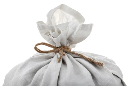 top of full white sack tied by rope isolated on background
