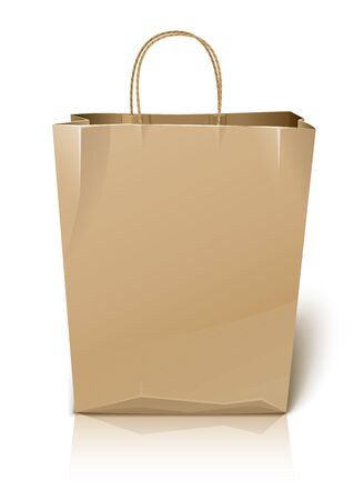 white paper bag: empty paper shopping bag illustration isolated on white background