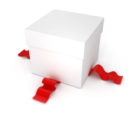 gift box with red ribbon isolated on white background photo