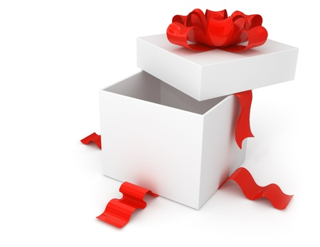 opening gift box with red bow isolated on white background Archivio Fotografico