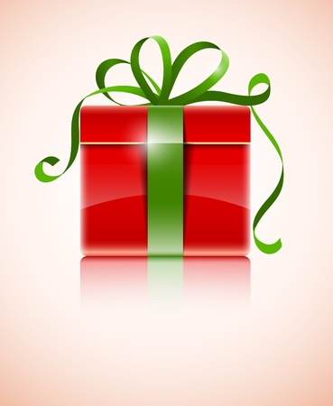 gift in red box with green bow illustration