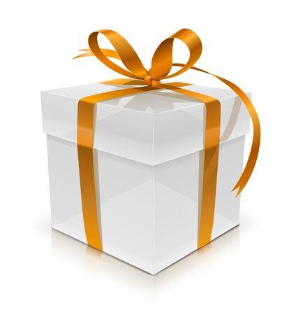white gift box with bow illustration isolated on white background