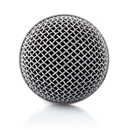 metallic texture of microphone head isolated on white background