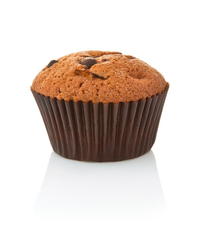 sweet chocolate cake in basket isolated on white background