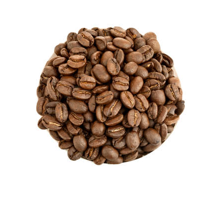 coffee seeds in circle isolated on white background