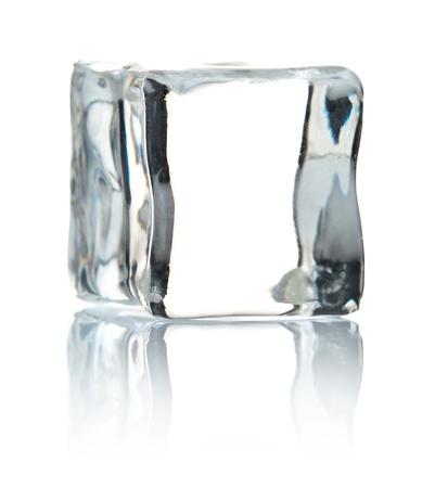 cube of ice isolated on white background