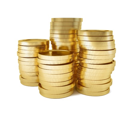 rouleau of gold coins 3d-illustration isolated on white background Stock Photo