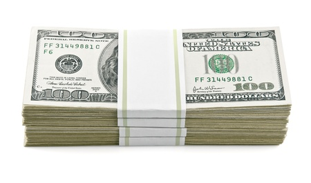 packs with dollars money isolated on white background