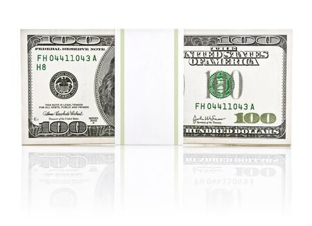 dollar money in the paper type pack isolated on white background Stock Photo