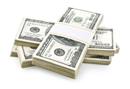 pile of packed dollars money isolated on white background Stock Photo