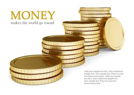 golden coin lay pile isolated on white background
