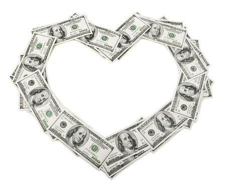cadre de c?ur créatif fait de l'argent dollars isolé sur fond blanc Banque d'images - 12504510