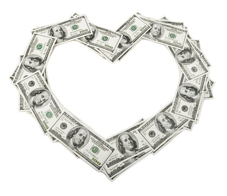 creative money: creative heart frame made of dollars money isolated on white background Stock Photo